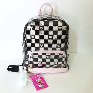 Betsey Johnson Clear Heart Checkered Backpack
